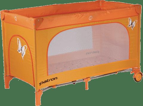 PATRON Składane łóżeczko podróżne Skippy – pomarańczowe/motyl