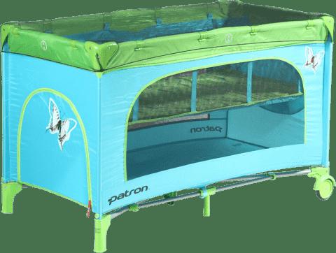 PATRON Skládací dětská postýlka na cesty Skippy plus – tyrkysová/motýl