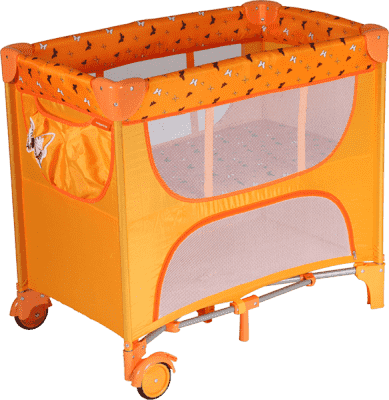 PATRON Skládací postýlka pro novorozence Maia – oranžová/motýl