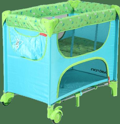 PATRON Skládací postýlka pro novorozence Maia – tyrkysová/motýl