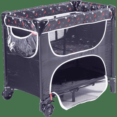 PATRON Składane łóżeczko dla noworodków Maia – czarne/motyl
