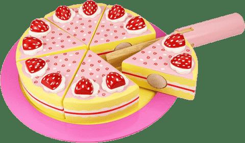 BIGJIGS Drevený krájacie torta s jahodami