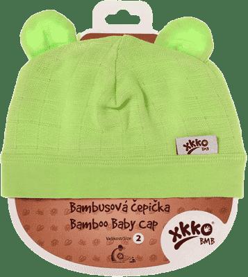 KIKKO Bambusová detská čiapočka Colours, vel. 2 - lime