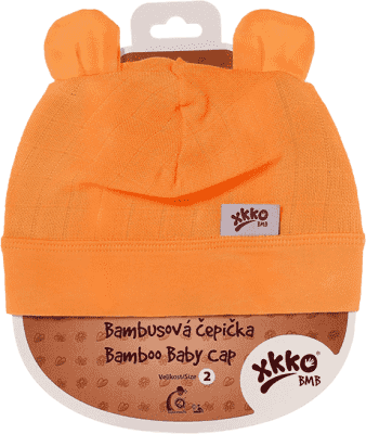 KIKKO Bambusová detská čiapočka Colours, vel. 2 - orange