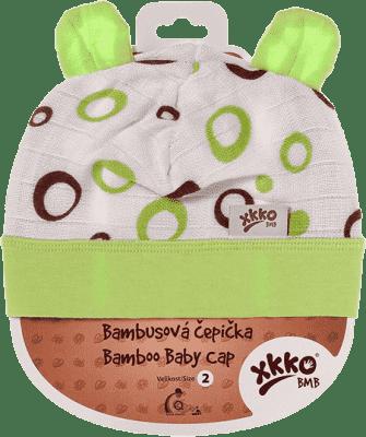 KIKKO Bambusová detská čiapočka Bubbles vel. 2 - lime