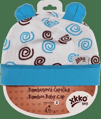KIKKO Bambusová dětská čepička Spirals vel. 2 – cyan
