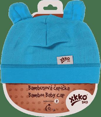KIKKO Bambusová detská čiapočka Colours, vel. 4 - cyan