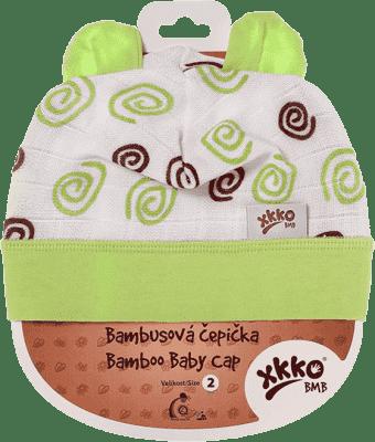 KIKKO Bambusová dětská čepička Spirals vel. 4 - lime