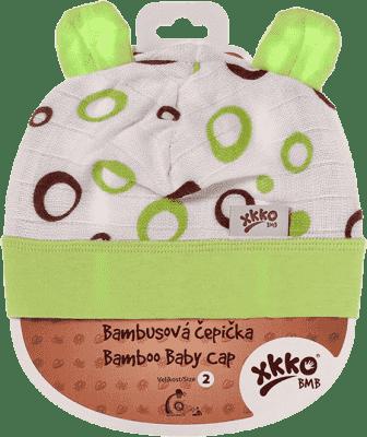 KIKKO Bambusová dětská čepička Bubbles vel. 4 - lime