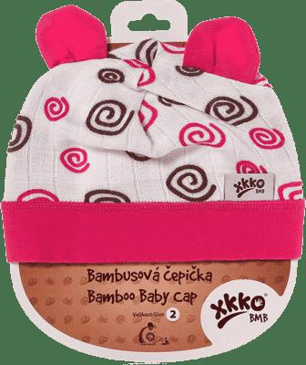 KIKKO Bambusowa dziecięca czapeczka Spirals rozm.4 - magenta