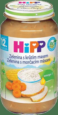 HIPP jemná zelenina s krůtím masem (220 g) - maso-zeleninový příkrm