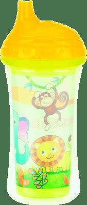 NUBY Termoizolační láhev s pítkem 270ml, 9m+, žlutá