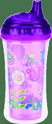 NUBY Termoizolacyjny kubek niekapek z ustnikiem 270 ml, 9 mies.+, fioletowy