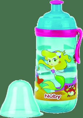 NUBY Športová fľaša Pop-Up 360ml, 18m +, tyrkysová