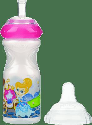 NUBY Netekoucí láhev se silikonovým pítkem 300ml, 9m+, bílá s růžovým víčkem