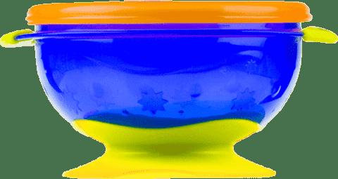NUBY Miska s víčkem a přísavkou, fialová s oranžovým víčkem