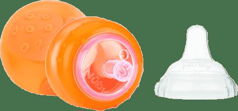 NUBY Bidon ze słomką 300 ml, 9 mies.+, pomarańczowy