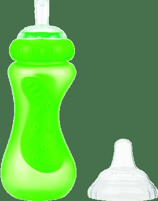 NUBY Sportovní láhev se silikonovým pítkem 300 ml, 9m+, zelená