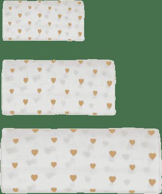 GLOOP mušelínové plienka 3 veľkosti Little Hearts