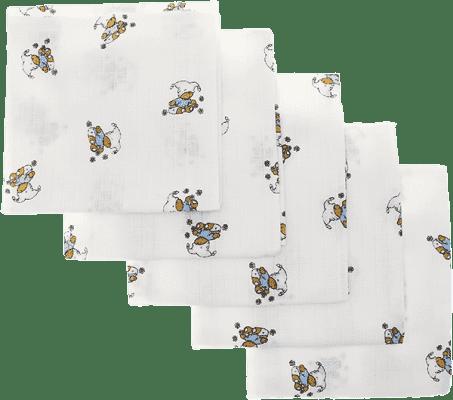 Libštátské pleny Detská bavlnená plienka, 70x70 cm, potlač, 5ks, Medvedík v modrom