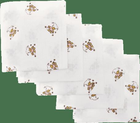 Libštátské pleny Detská bavlnená plienka, 70x70 cm, potlač, 5ks, Medvedík v ružovom