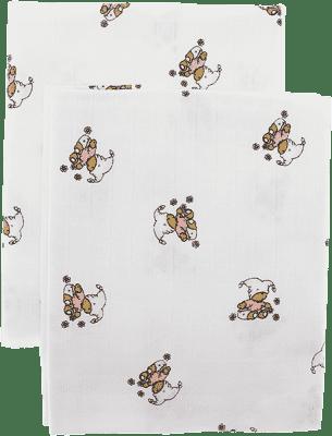 Libštátské pleny Dětská bavlněná plena/osuška, 90x100 cm, potisk, 2 ks, Medvídek v růžovém