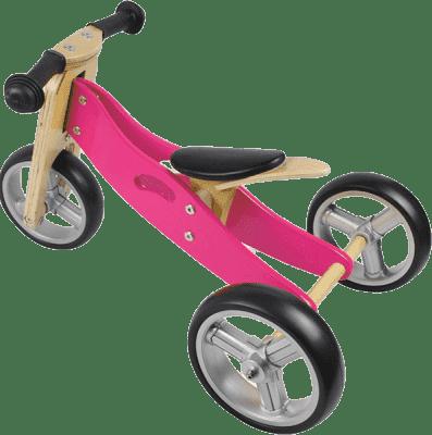 NICKO Drewniany jeździk 2w1 mini rowerek trzykołowy – różowy