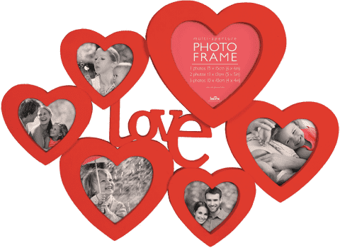 FOTORÁM červený Maggiore XXXIII so srdiečkami a nápisom Love pre 6 fotografií