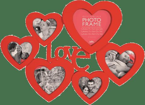 FOTORÁM červený Maggiore XXXIII se srdíčky a nápisem Love pro 6 fotografií
