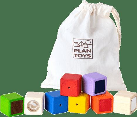 PLAN TOYS Smyslové kostky (9ks)