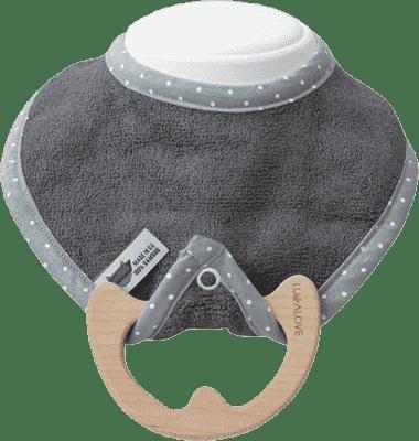 LULLALOVE superr Baby Eco - podbradník a hryzátko 2v1, šedá