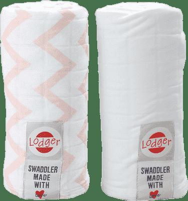 LODGER Multifunkční osuška Swaddler balení 2ks – Nude/White