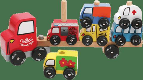 VILAC Dřevěná hračka - Dřevěné motorické auto - nasazování