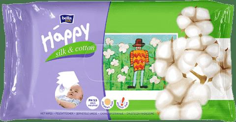 BELLA HAPPY BABY Chusteczki nawilżane jedwab i bawełna 64 szt.