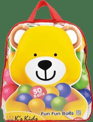 K´S KIDS Farebné loptičky v PVC taške, 50 ks