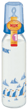 NUK Szklana butelka 230 ml, smoczek R1 (silikon) – niebieska