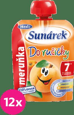 12x SUNÁREK Do ručičky marhuľa 90g - ovocný príkrm