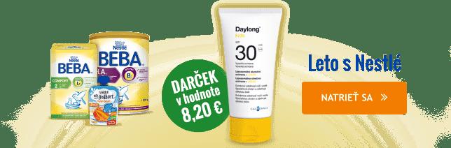 K nákupu výrobkov NESTLÉ nad 59 € získate ako darček krém na opaľovanie DAYLONG SUN v hodnote 8,20 € .