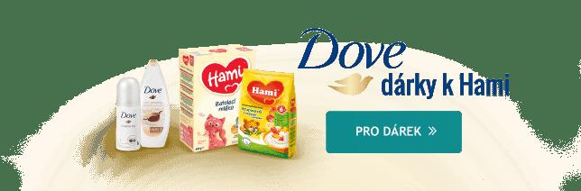 Při nákupu výrobků značek Hami a Nutrilon nad 1999 Kč získáte dárky od kosmetiky Dove.